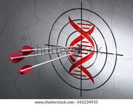 Success Science concept: arrows hitting the center of Red DNA target on wall background - stock photo