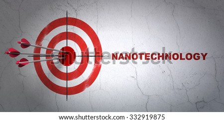 Success Science concept: arrows hitting the center of target, Red Nanotechnology on wall background - stock photo