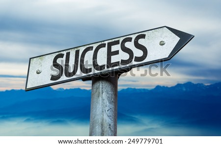 Success sign with sky background - stock photo