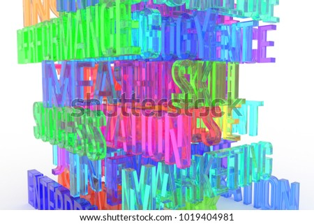 Success, Skill, business conceptual colorful 3D rendered words. Abstract CGI typography. Good for web page, wallpaper, graphic design, catalog, texture, background.