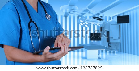 success smart medical doctor with operating room. - stock photo
