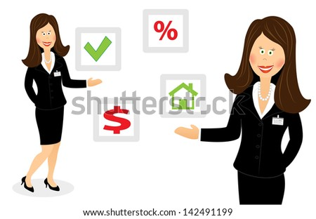 Success smiling cartoon businesswoman offers right choice - stock photo