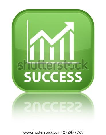 Success (statistics icon) soft green square button - stock photo