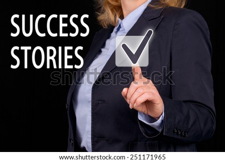 Success Stories - Businesswoman with checkbox and text - stock photo