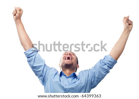 Success student with arms outstretched - stock photo
