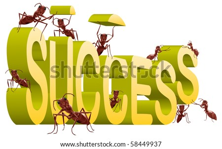 success successful building create your own fortune ants working to build 3D word isolated on white - stock photo
