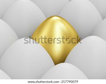 Success Symbol and Happy Easter Concept. Golden Easter Egg standing out from the others