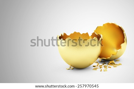 Success Symbol or Happy Easter Concept. Empty Broken Big Golden Egg on gradient background with place for Your text - stock photo