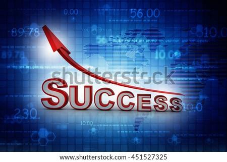 success text arrow on colour background. success oncept 3d render illustration - stock photo