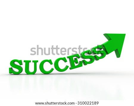success text arrow on white background. success oncept 3d render illustration - stock photo