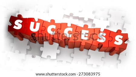 Success - Text on Red Puzzles with White Background. 3D Render.  - stock photo