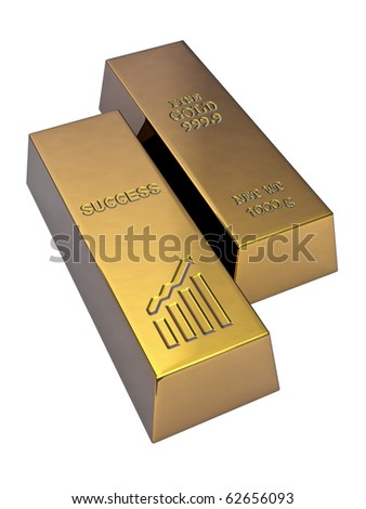 Success Three-dimensional gold bullion. On a white background.