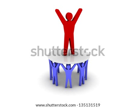 Success through the efforts of others. Leadership. Concept 3D illustration. - stock photo