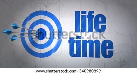 Success time concept: arrows hitting the center of target, Blue Life Time on wall background