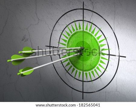 Success travel concept: arrows hitting the center of Green Sun target on wall background, 3d render