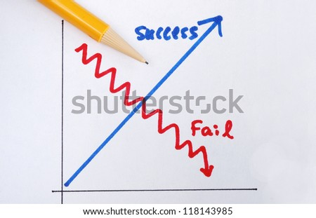 Success versus failure concepts of succeed or fail in business - stock photo