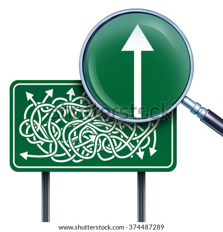 Success vision business concept as a highway road sign with confused twisted arrows and a magnifying glass with a straight arrow going up as a direction metaphor for simplicity and clarification. - stock photo
