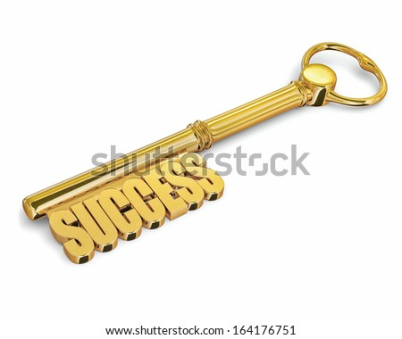 Success wealth prosperity concept - golden key to success made of gold isolated on white background - stock photo