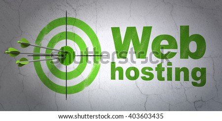 Success web development concept: arrows hitting the center of target, Green Web Hosting on wall background, 3D rendering - stock photo