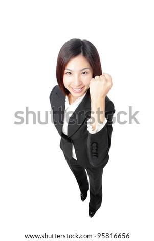Success winner business woman full length isolated. Funny image of celebrating happy young businesswoman in full length with her arms up. - stock photo