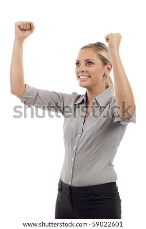 Success Winner  - Young attractive business woman with her arms up isolated over white background