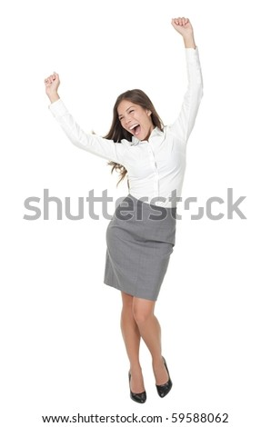 Success woman celebrating in winner dance. Casual young successful businesswoman dancing very happy. Full length Isolated on white background. - stock photo