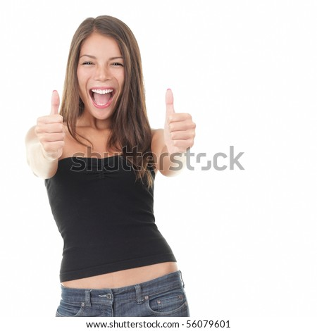 Success woman showing thumbs up. Excited beautiful woman isolated on white background. Mixed Asian Caucasian model - stock photo