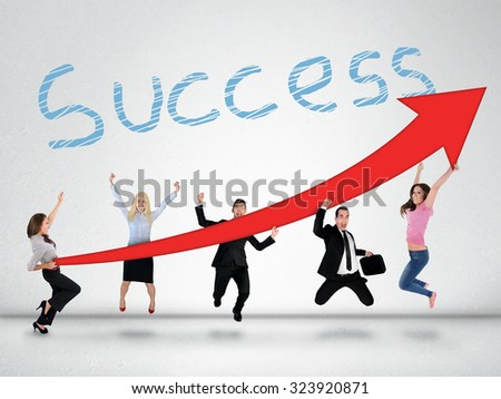 Success word and red arrow report growth statistics