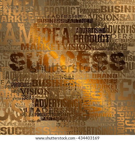 Success Word Cloud Concept Background. Gold Style