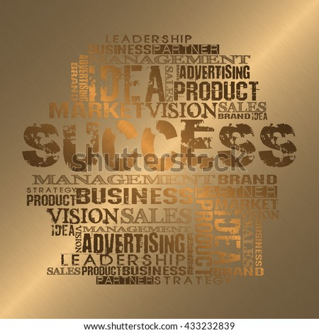 Success Word Cloud Concept  Gold Style