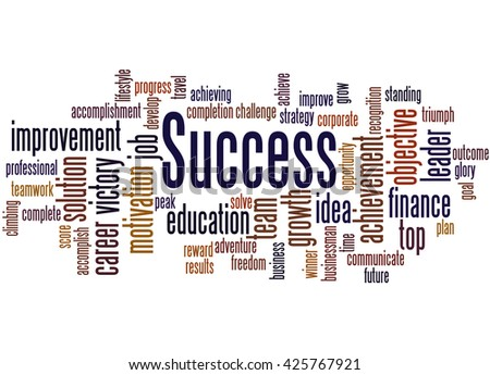 Success, word cloud concept on white background.