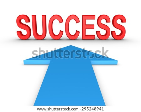 SUCCESS word is in front of arrow - stock photo