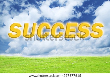 success word made green grass and on blue sky background - stock photo