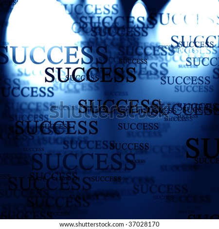 Success written in text on a blue background