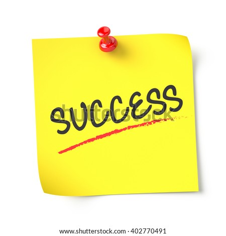 Success , yellow note paper , isolated , 3d render - stock photo