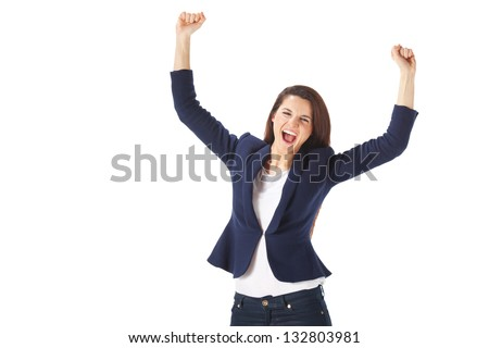 Success yong business woman celebrating screaming. Caucasian businesswoman cheerful for her success isolated on white background