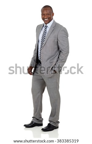 successful african american business man on white background