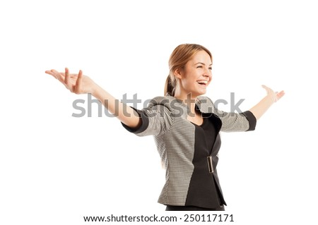 Successful and happy business woman concept with one female model holding her arms up - stock photo