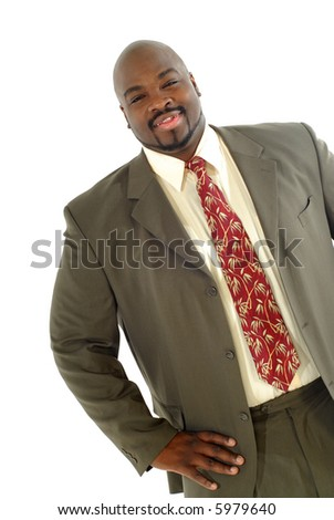 Successful and satisfied businessman isolated on white in a studio - stock photo