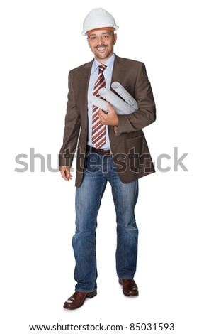 Successful architect with blueprint on white background - stock photo