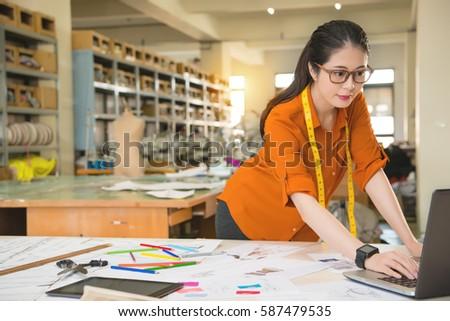 Authentic Image Asian Fashion Woman Designer Stock Photo 576654796