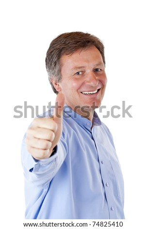 Successful, attractive, aged, happy man shows thumb up.Isolated on white background. - stock photo