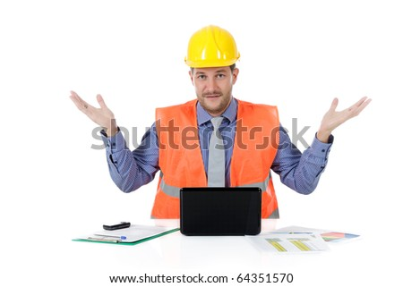 Successful attractive caucasian man architect with safety helmet in the office with laptop, have wondering expression. Studio shot. White background. - stock photo