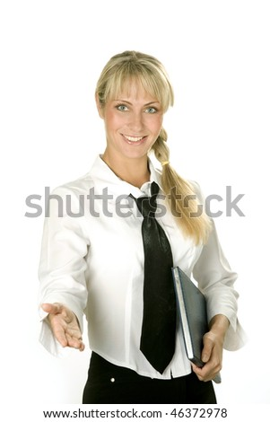 Successful attractive young businesswoman  with a a notebook in her hand - stock photo