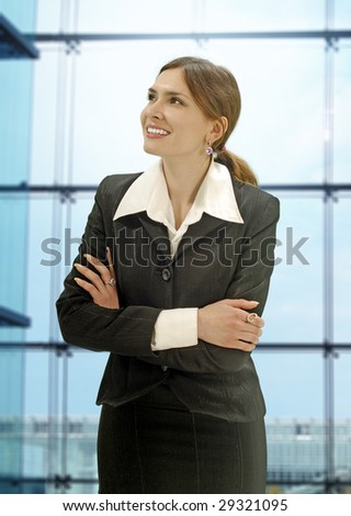 successful beautiful businesswoman in the modern office - stock photo
