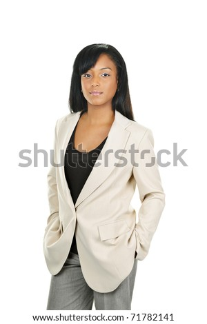 Successful black businesswoman standing isolated on white background - stock photo