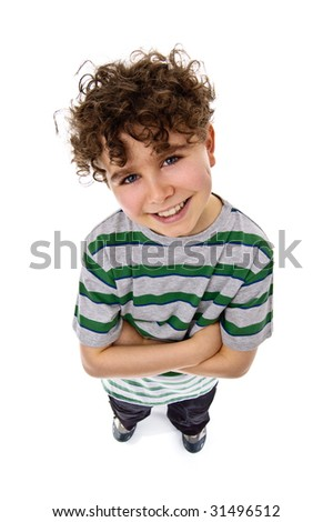 Successful boy isolated on white - stock photo