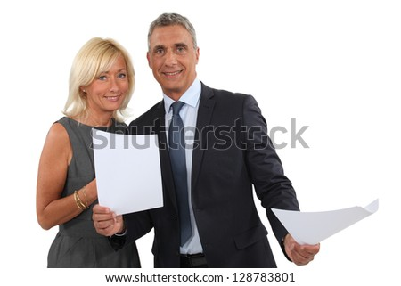 Successful business couple - stock photo