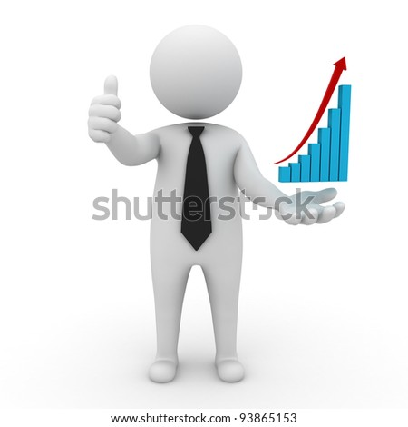 Successful business, 3d business man thumbs up with rising graph on his hand isolated on white background