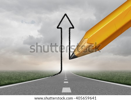 Successful Business direction and success control symbol as a pencil drawing an upward 3D illustration arrow from a straight road as a motivation metaphor to take authority of your path to succeed.